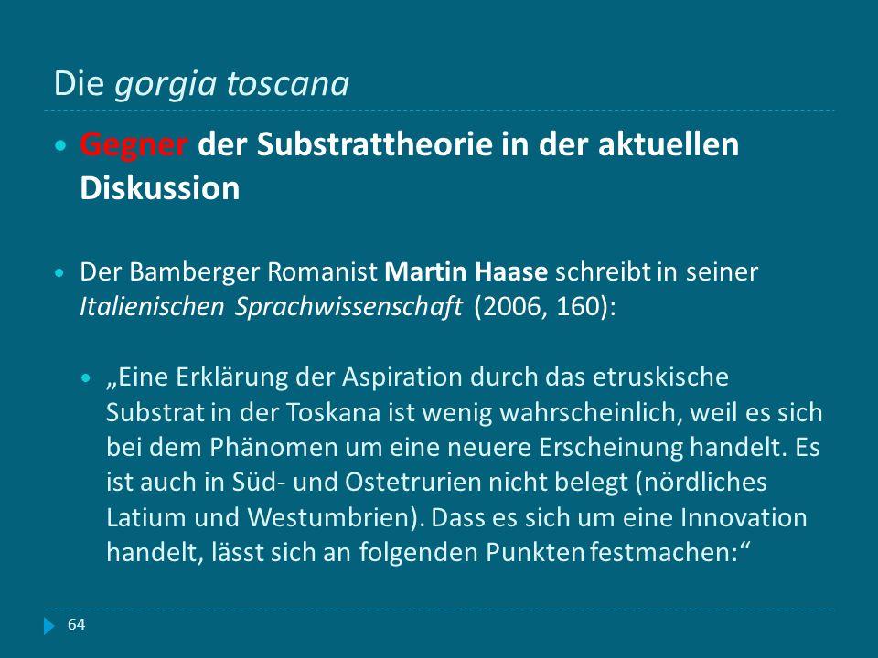 Die gorgia toscana Gegner der Substrattheorie in der aktuellen Diskussion.