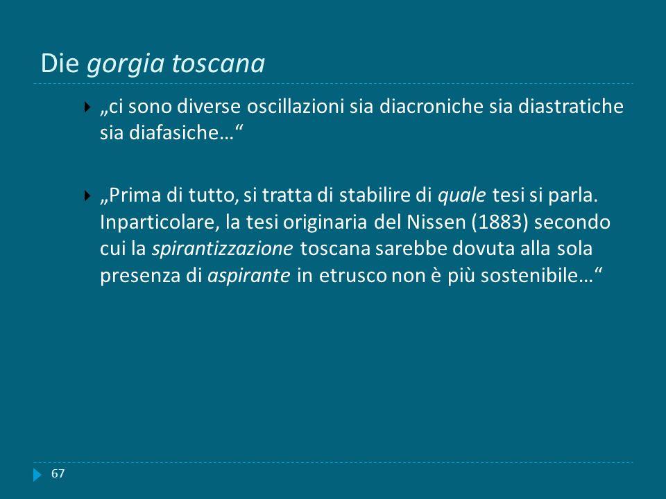 """Die gorgia toscana """"ci sono diverse oscillazioni sia diacroniche sia diastratiche sia diafasiche…"""