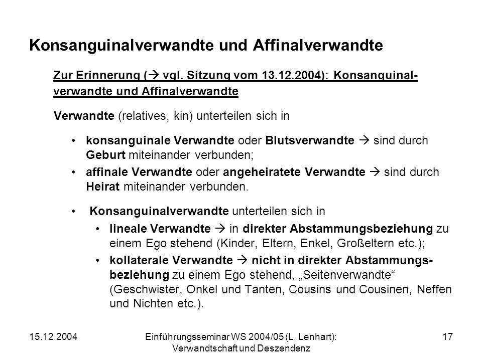 Konsanguinalverwandte und Affinalverwandte