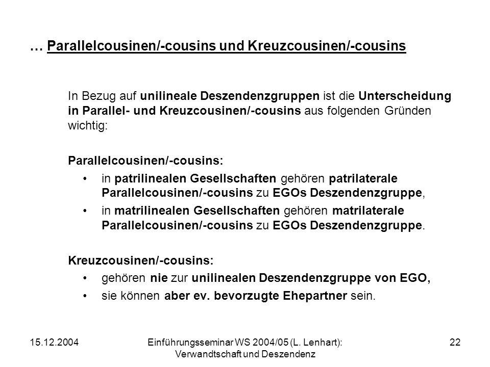 … Parallelcousinen/-cousins und Kreuzcousinen/-cousins
