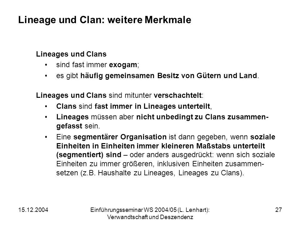 Lineage und Clan: weitere Merkmale