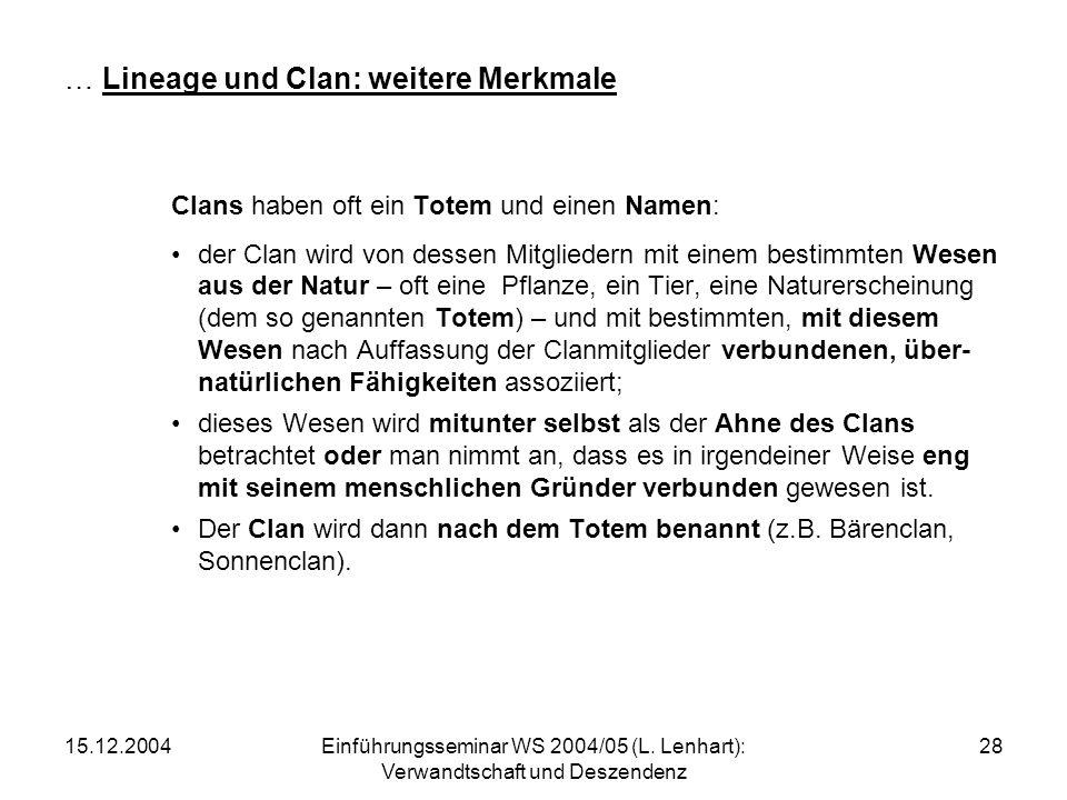 … Lineage und Clan: weitere Merkmale