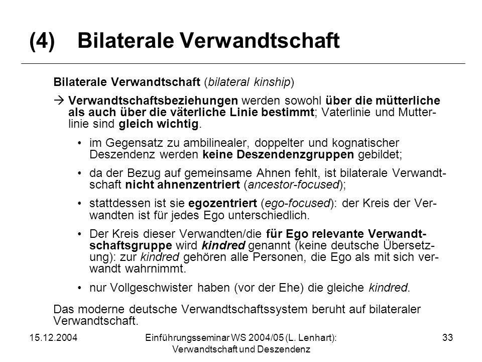 (4) Bilaterale Verwandtschaft