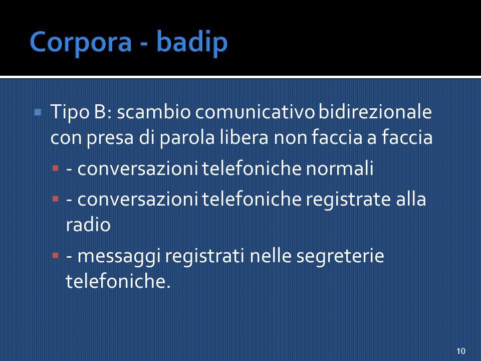 Corpora - badip Tipo B: scambio comunicativo bidirezionale con presa di parola libera non faccia a faccia.