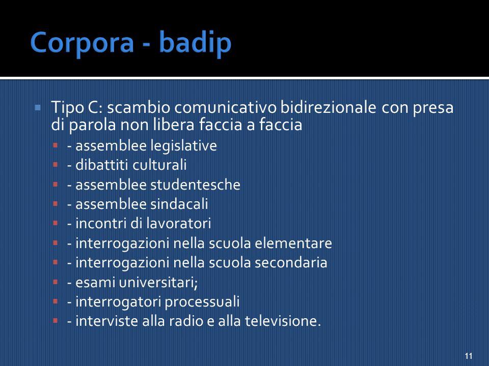 Corpora - badip Tipo C: scambio comunicativo bidirezionale con presa di parola non libera faccia a faccia.