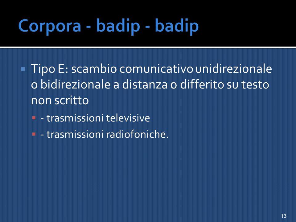 Corpora - badip - badip Tipo E: scambio comunicativo unidirezionale o bidirezionale a distanza o differito su testo non scritto.