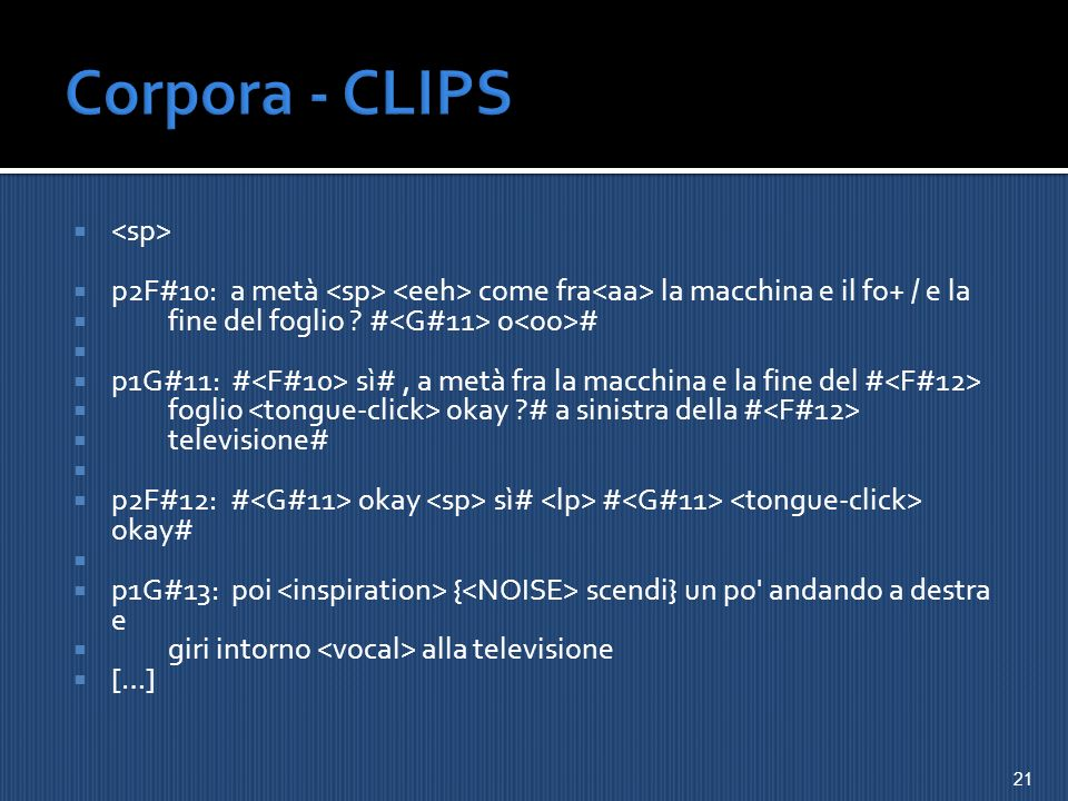 Corpora - CLIPS <sp>