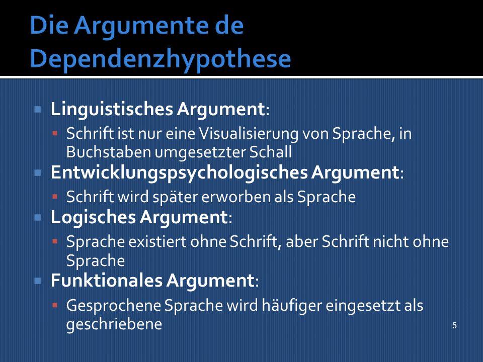 Die Argumente de Dependenzhypothese