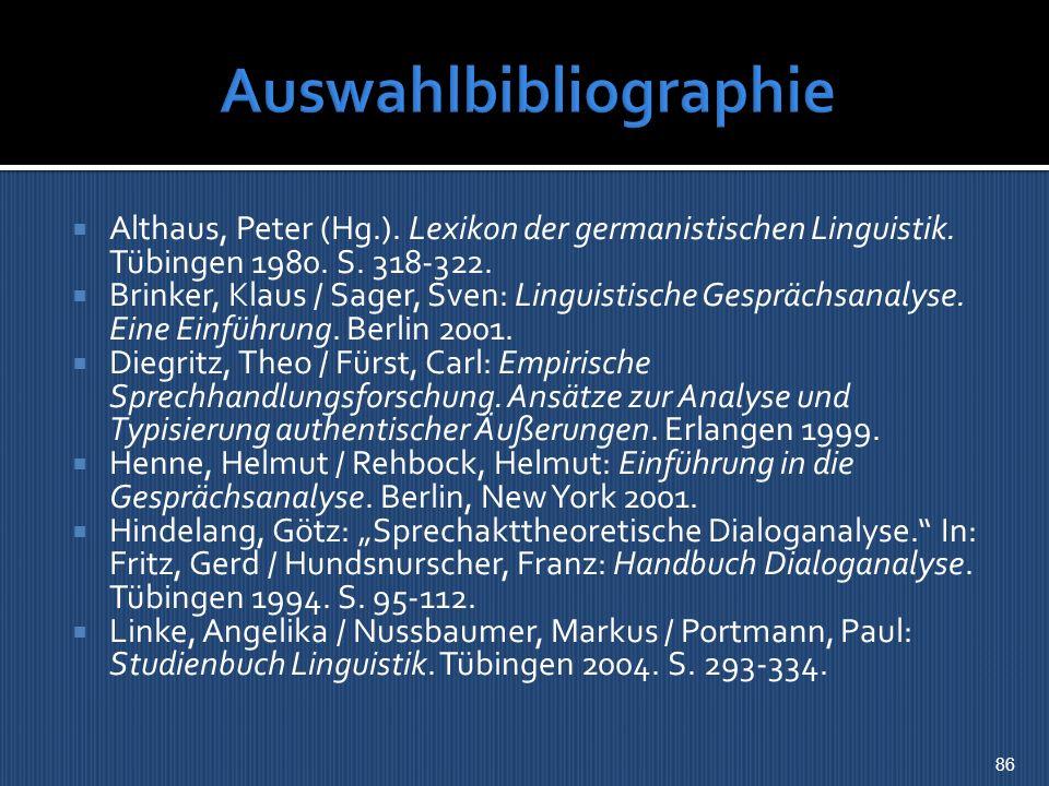 Auswahlbibliographie