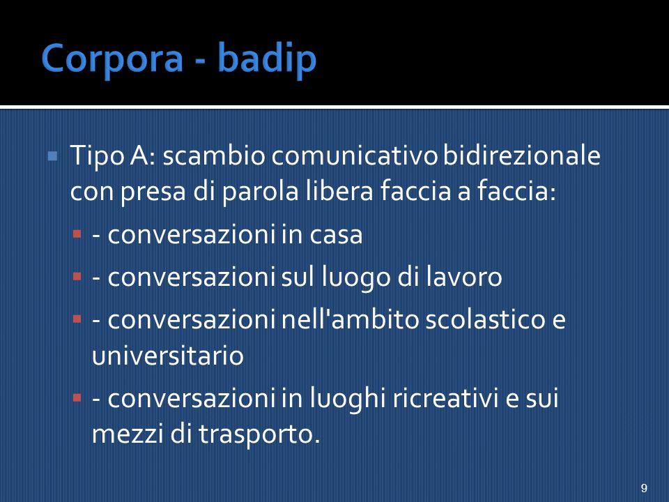 Corpora - badip Tipo A: scambio comunicativo bidirezionale con presa di parola libera faccia a faccia: