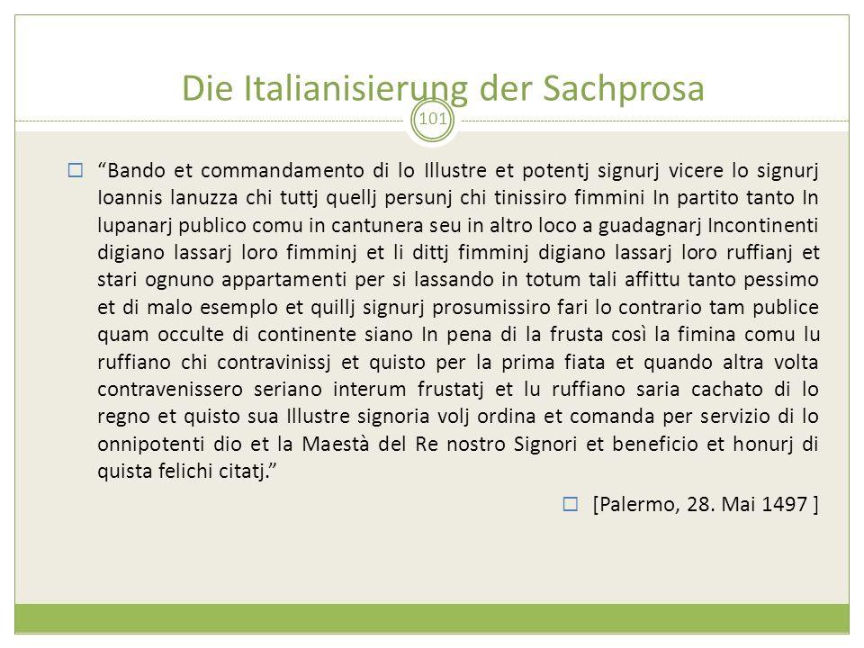 Die Italianisierung der Sachprosa