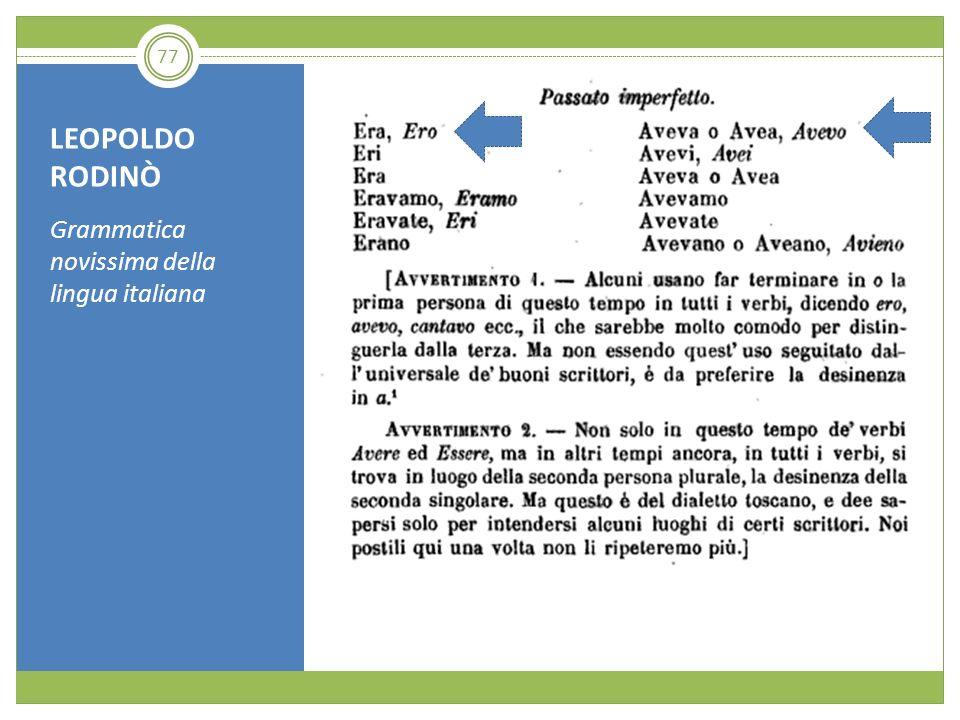 LEOPOLDO RODINÒ Grammatica novissima della lingua italiana