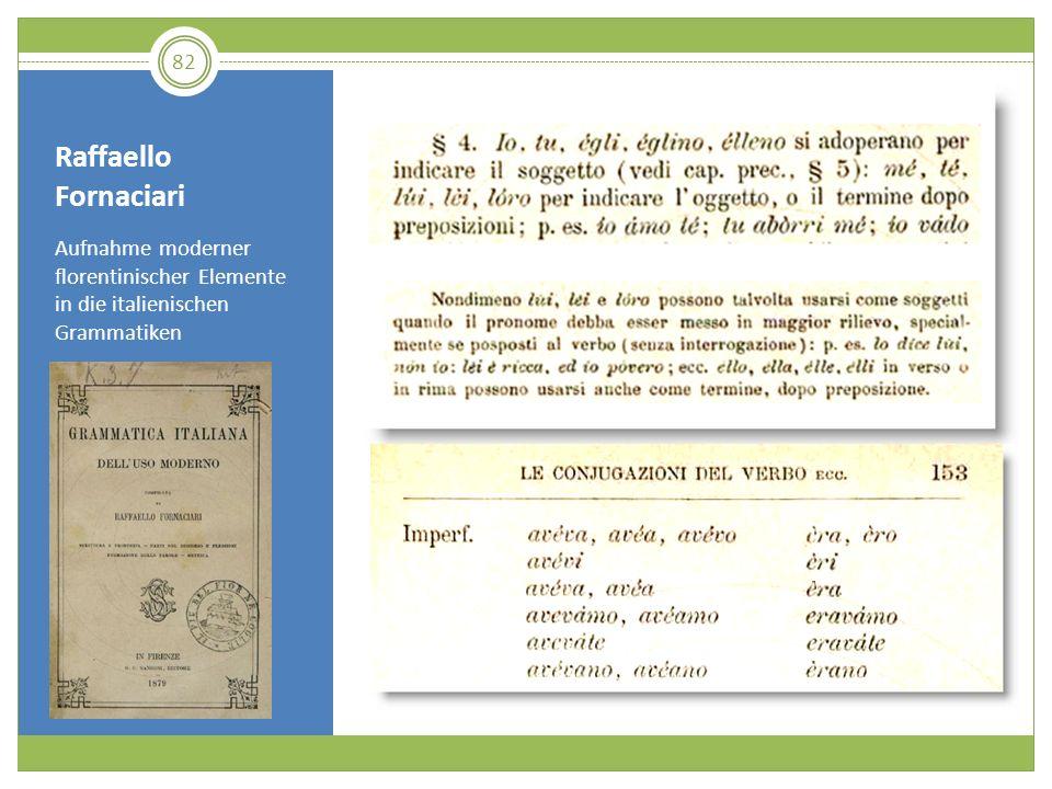 Raffaello Fornaciari Aufnahme moderner florentinischer Elemente in die italienischen Grammatiken