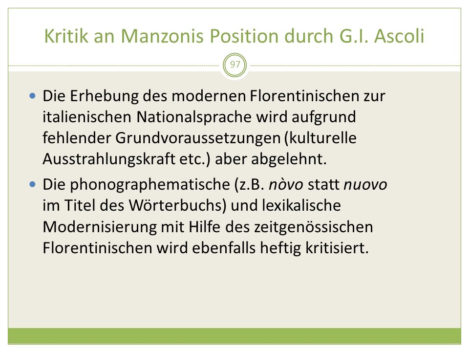 Kritik an Manzonis Position durch G.I. Ascoli