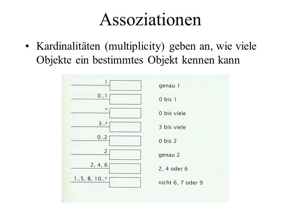 Assoziationen Kardinalitäten (multiplicity) geben an, wie viele Objekte ein bestimmtes Objekt kennen kann.