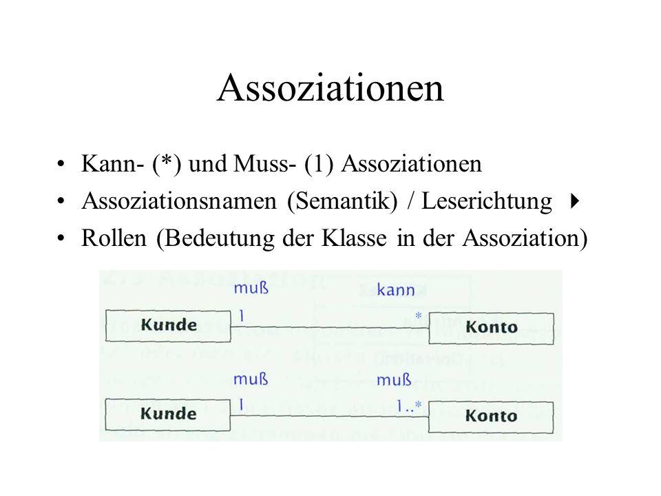 Assoziationen Kann- (*) und Muss- (1) Assoziationen