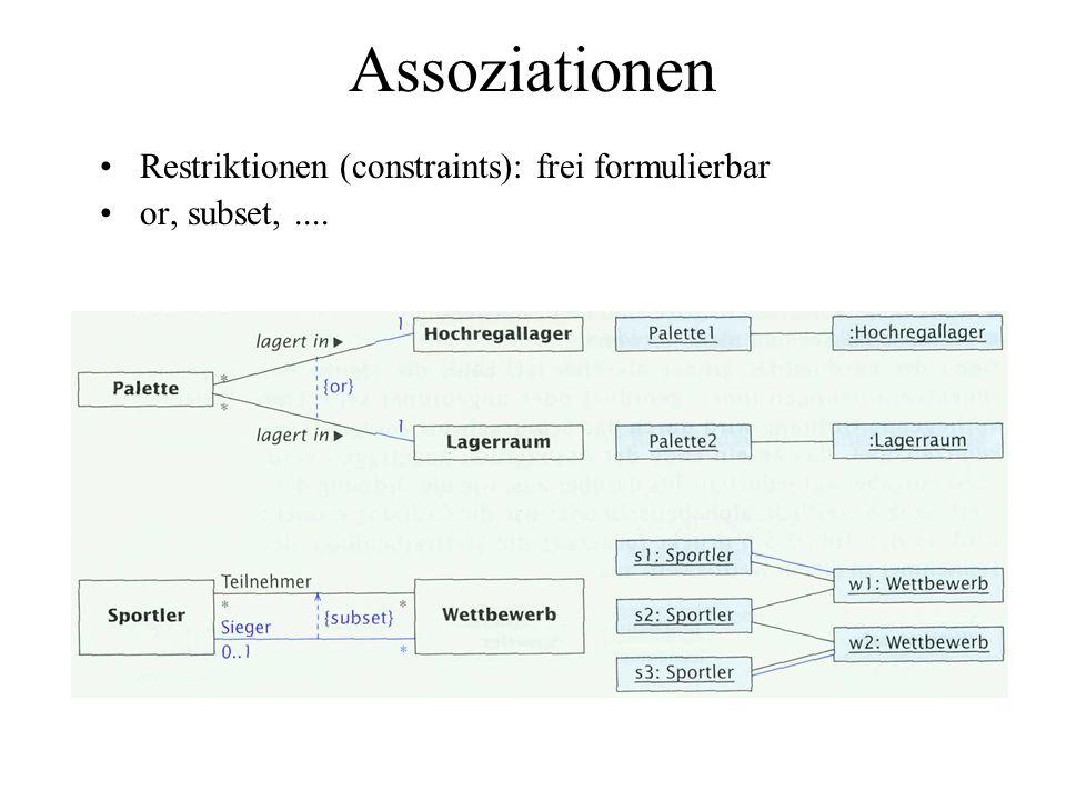 Assoziationen Restriktionen (constraints): frei formulierbar