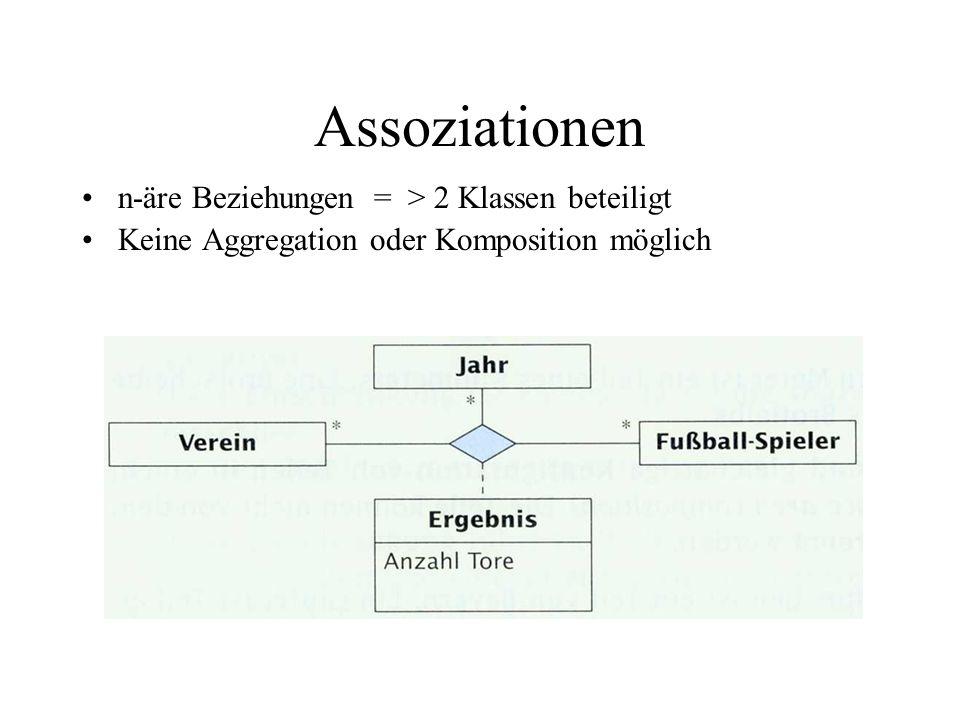 Assoziationen n-äre Beziehungen = > 2 Klassen beteiligt