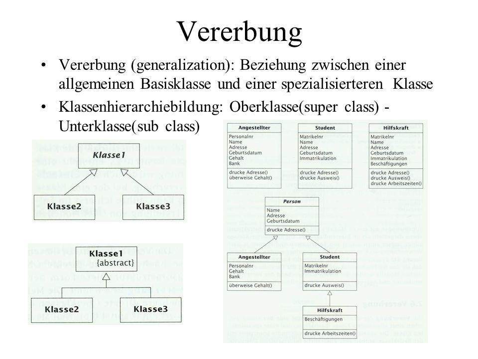 Vererbung Vererbung (generalization): Beziehung zwischen einer allgemeinen Basisklasse und einer spezialisierteren Klasse.