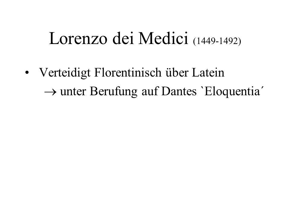 Lorenzo dei Medici (1449-1492) Verteidigt Florentinisch über Latein