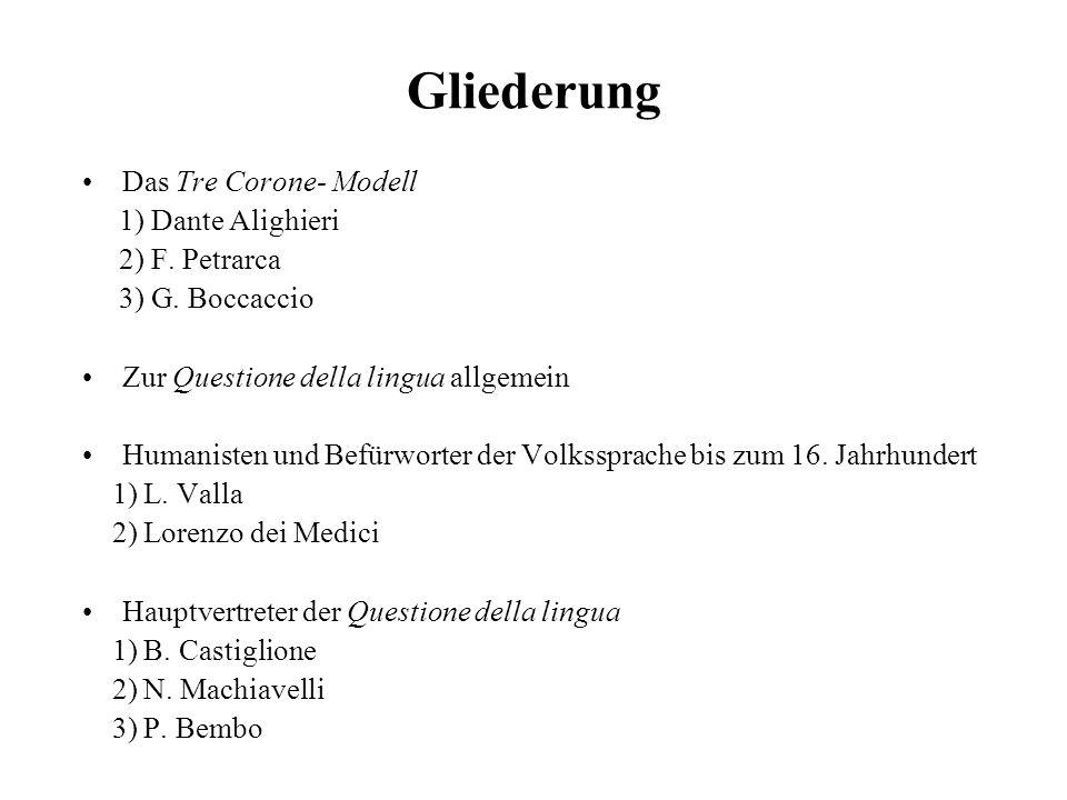 Gliederung Das Tre Corone- Modell 1) Dante Alighieri 2) F. Petrarca