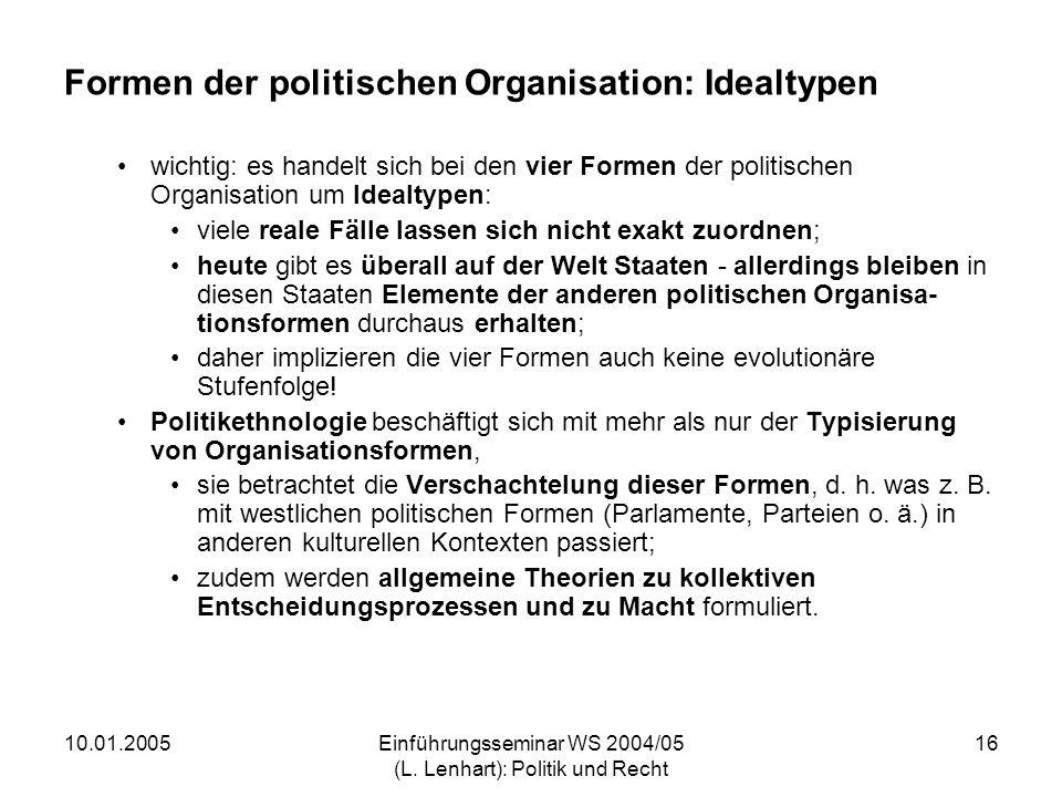 Formen der politischen Organisation: Idealtypen