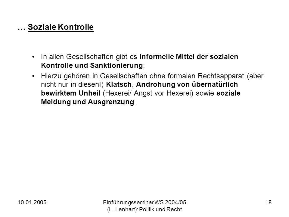 Einführungsseminar WS 2004/05 (L. Lenhart): Politik und Recht