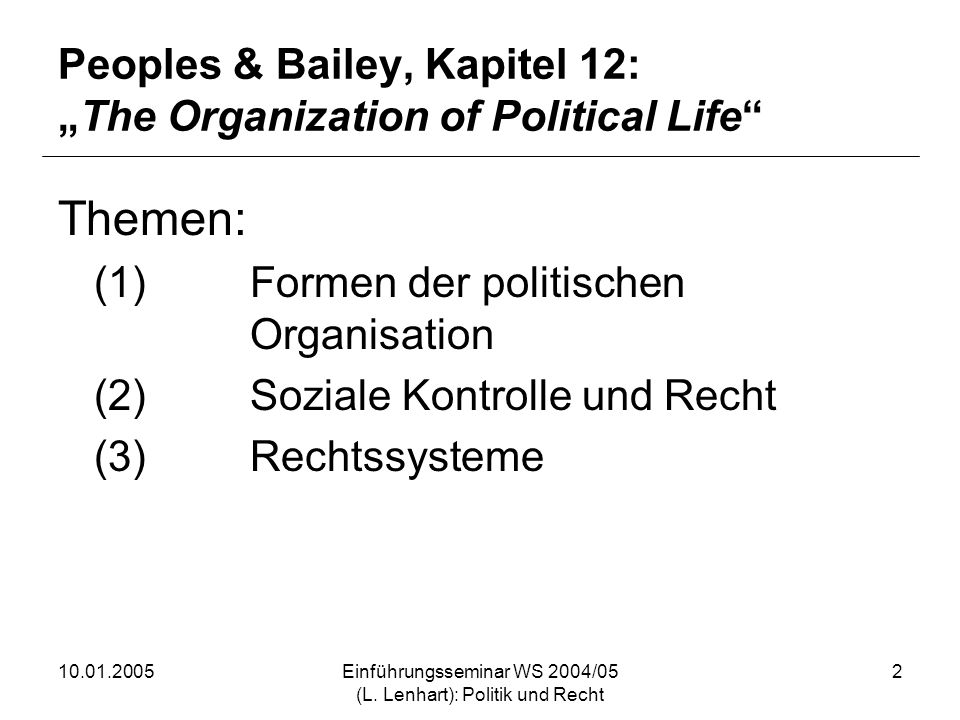 "Peoples & Bailey, Kapitel 12: ""The Organization of Political Life"