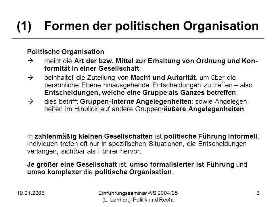 (1) Formen der politischen Organisation