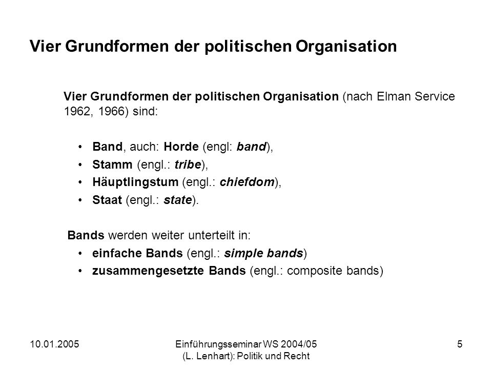 Vier Grundformen der politischen Organisation