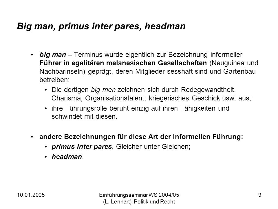 Big man, primus inter pares, headman