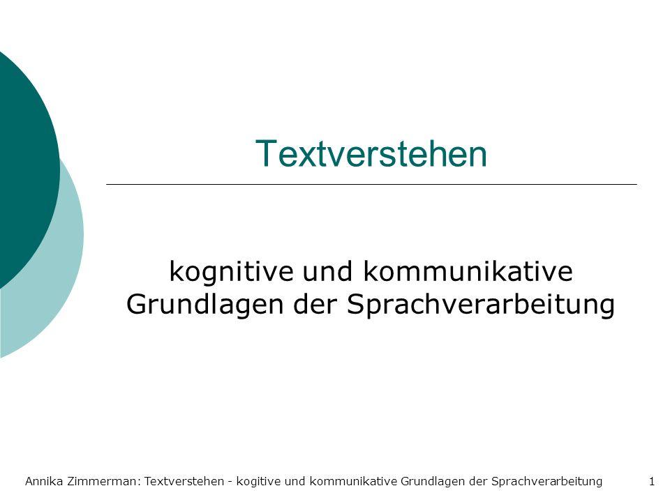 kognitive und kommunikative Grundlagen der Sprachverarbeitung