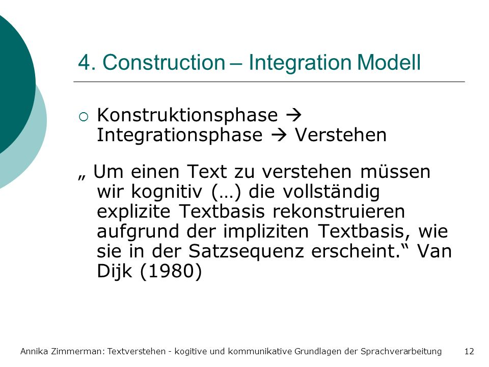 4. Construction – Integration Modell