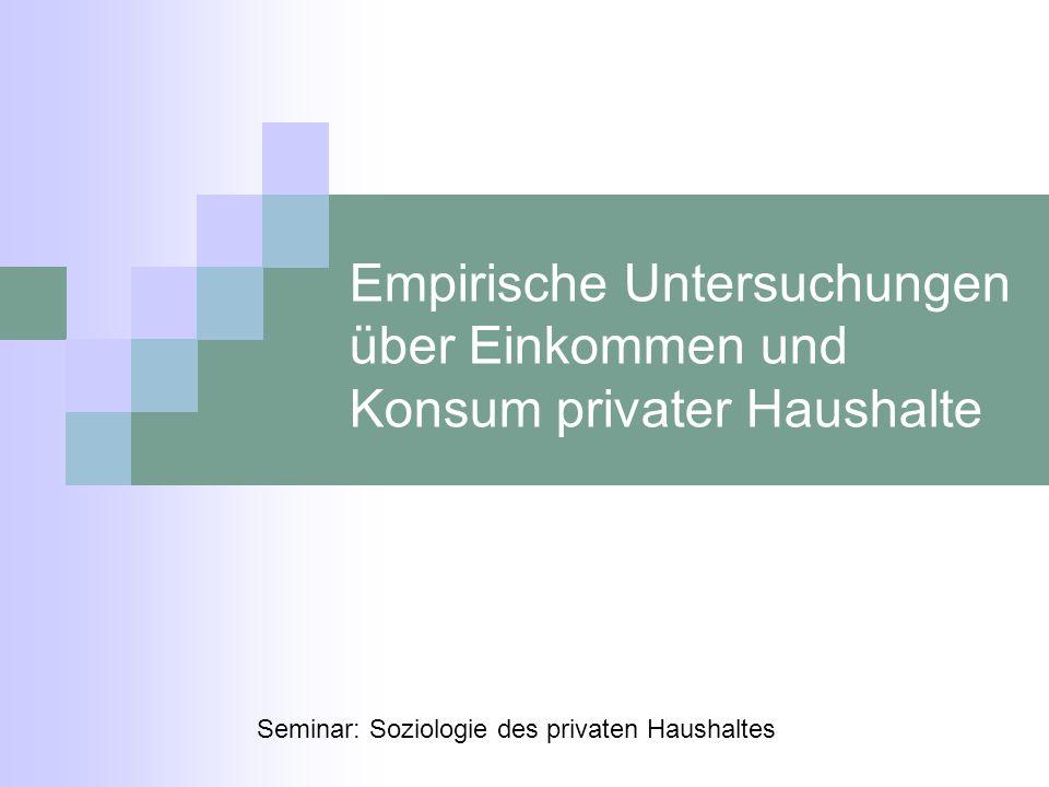 Empirische Untersuchungen über Einkommen und Konsum privater Haushalte