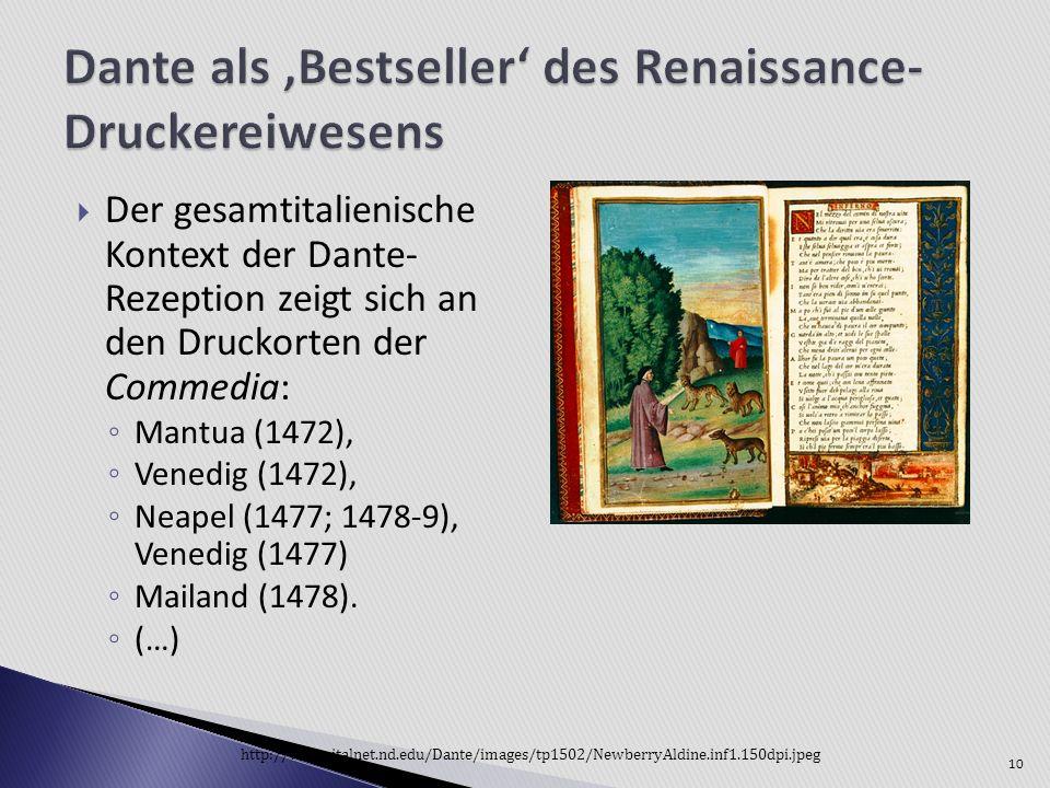 Dante als 'Bestseller' des Renaissance-Druckereiwesens