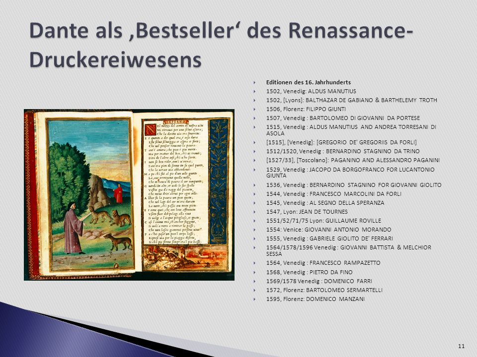 Dante als 'Bestseller' des Renassance-Druckereiwesens