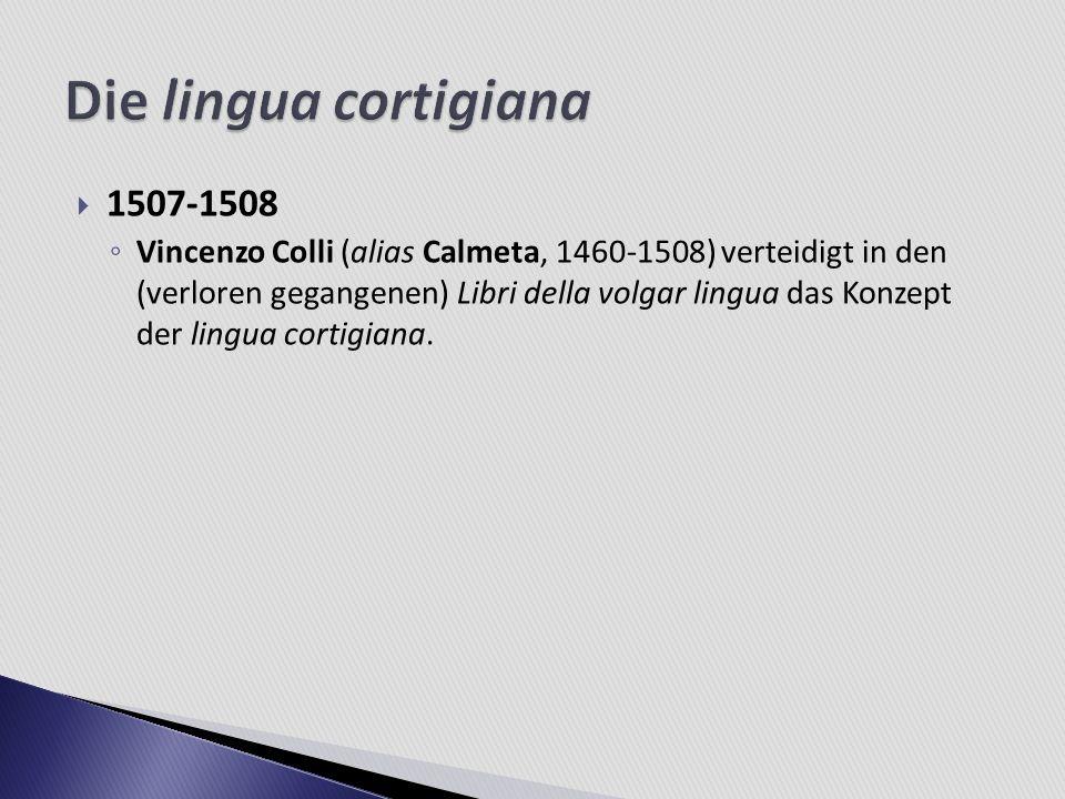 Die lingua cortigiana 1507-1508