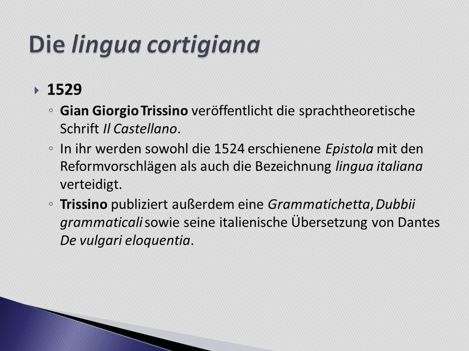 Die lingua cortigiana 1529. Gian Giorgio Trissino veröffentlicht die sprachtheoretische Schrift Il Castellano.