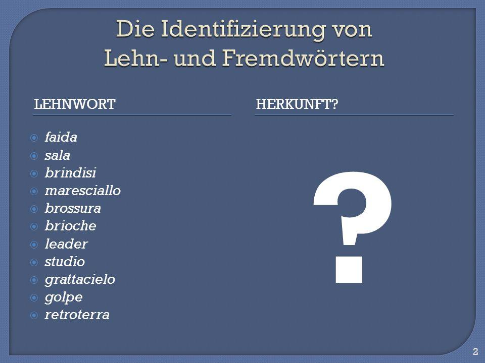 Die Identifizierung von Lehn- und Fremdwörtern