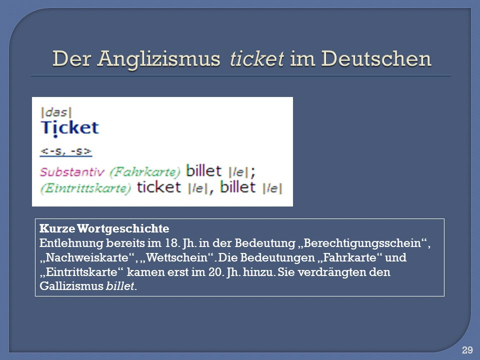 Der Anglizismus ticket im Deutschen