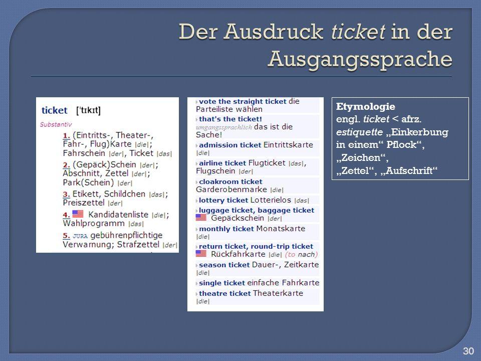 Der Ausdruck ticket in der Ausgangssprache