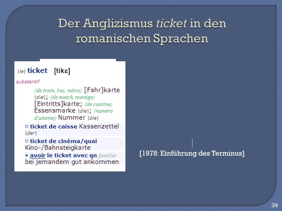 Der Anglizismus ticket in den romanischen Sprachen