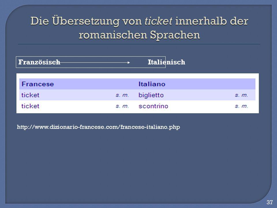 Die Übersetzung von ticket innerhalb der romanischen Sprachen