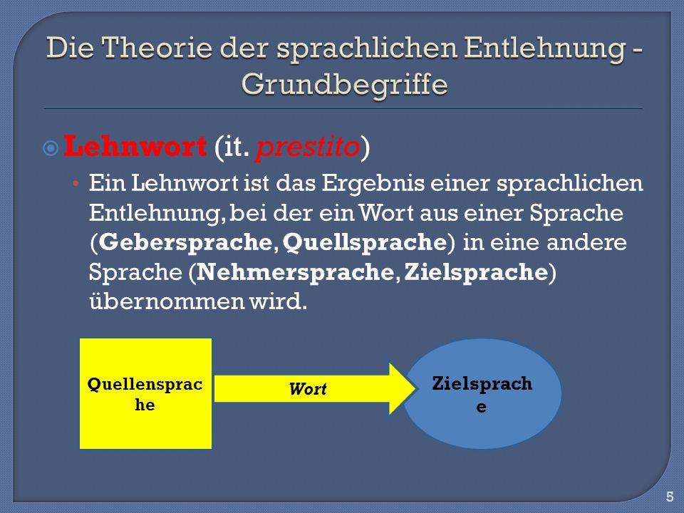 Die Theorie der sprachlichen Entlehnung - Grundbegriffe