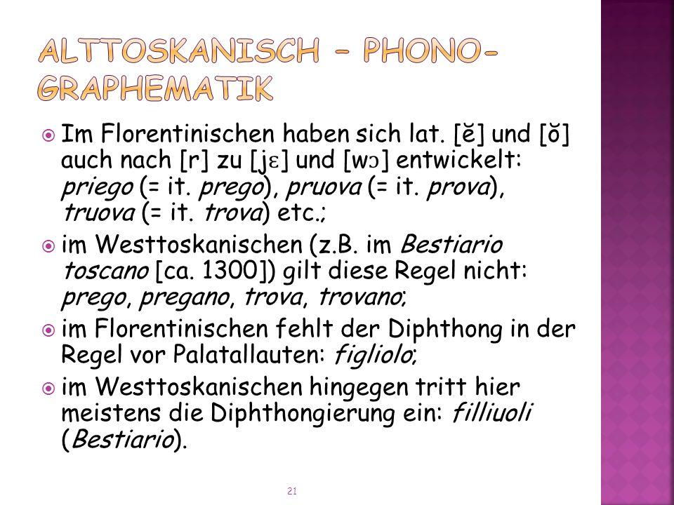 Alttoskanisch – Phono-Graphematik