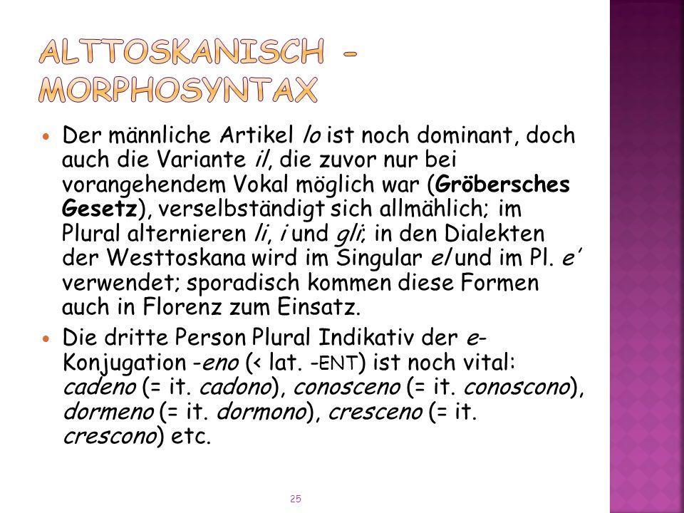 Alttoskanisch - Morphosyntax