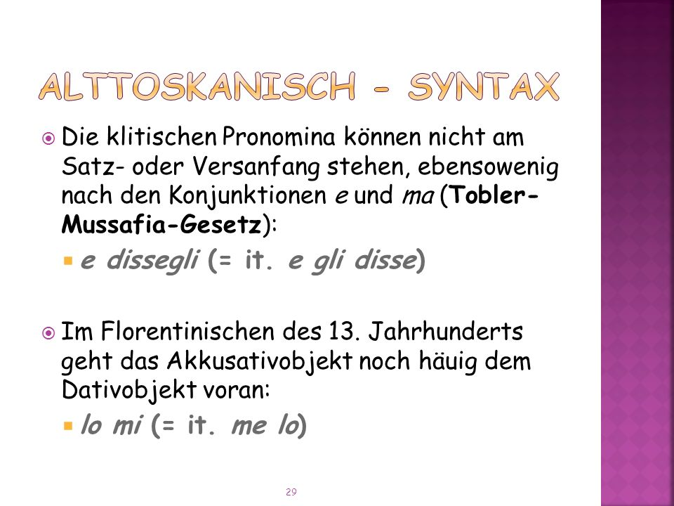 Alttoskanisch - Syntax
