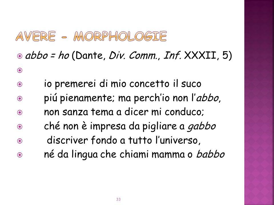 AVERE - Morphologie abbo = ho (Dante, Div. Comm., Inf. XXXII, 5)