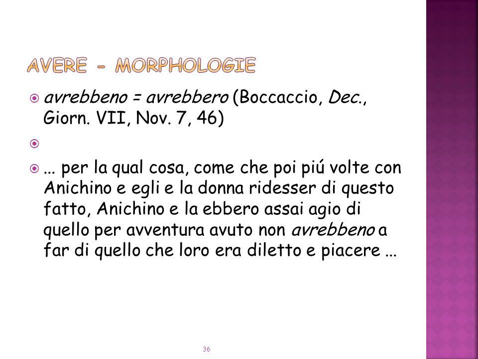 AVERE - Morphologie avrebbeno = avrebbero (Boccaccio, Dec., Giorn. VII, Nov. 7, 46)