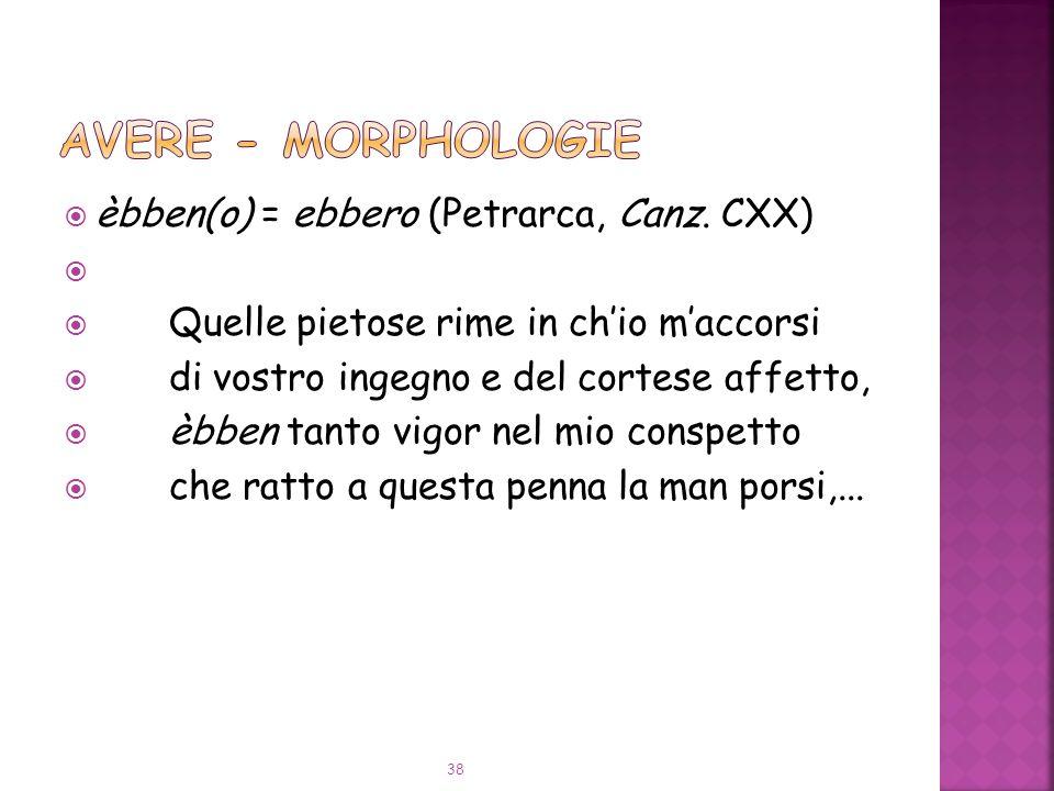 AVERE - Morphologie èbben(o) = ebbero (Petrarca, Canz. CXX)